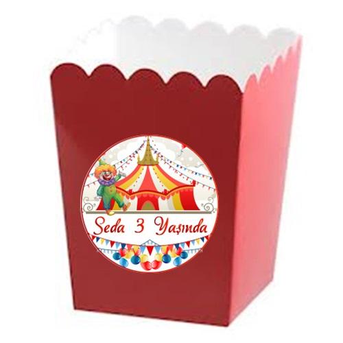Renkli Karnaval Kişiye Özel Popcorn Kutusu