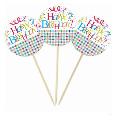 Yıldızlı Happy Birthday Kürdan Süs