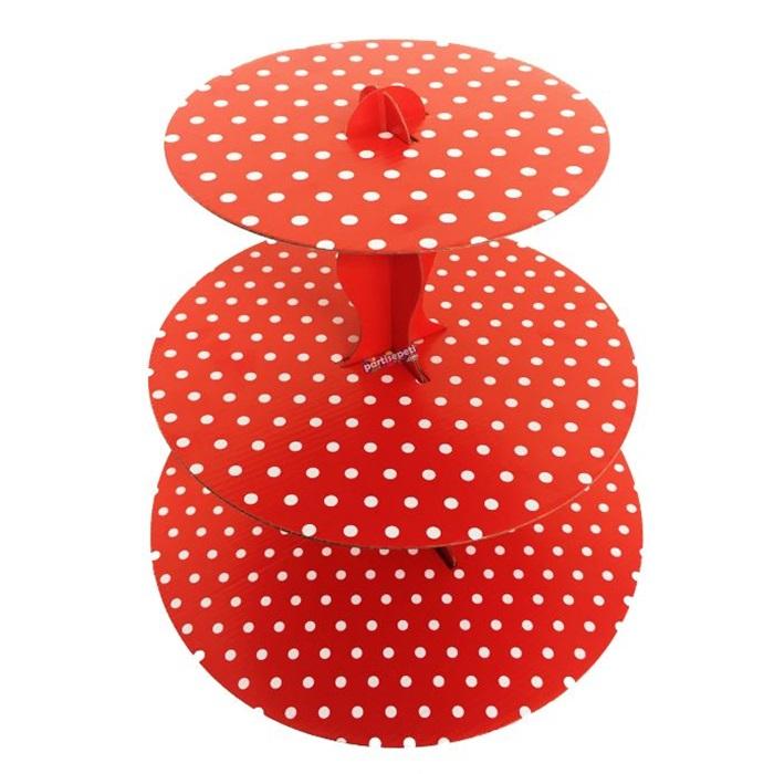 Kırmızı Puanlı Cupcake Standı