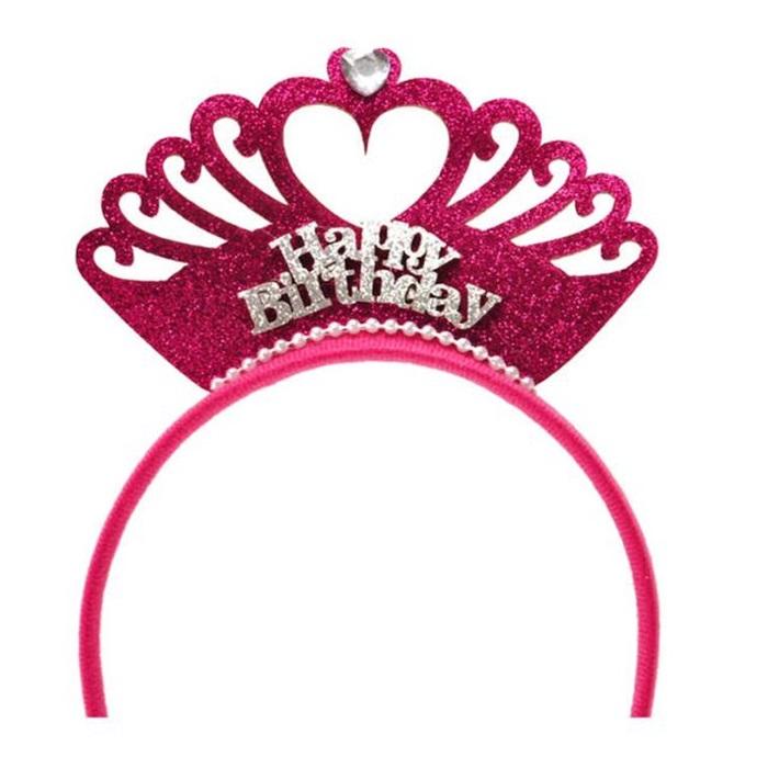 Fuşya Happy Birthday Taç