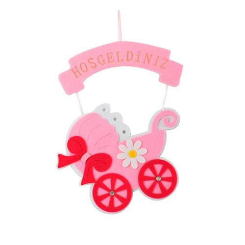 Bebek Arabalı Kız Keçe Kapı Süsü