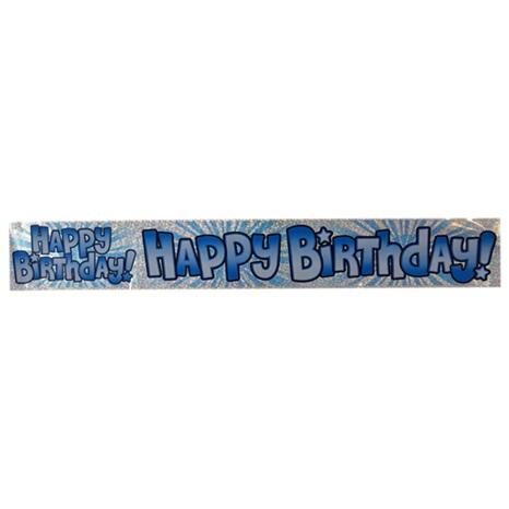 Açık Mavi Happy Birthday Banner