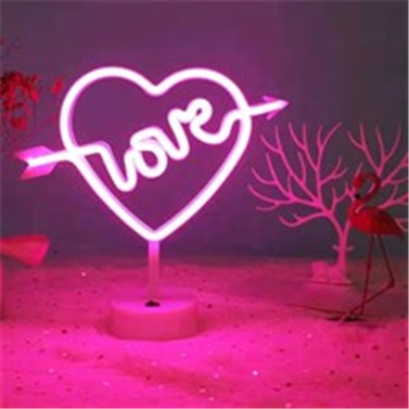 Kalpli Love  Neon Pilli Led Masa ve Gece Lambası