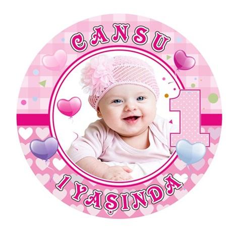 1 Yaş Temalı Kız Kişiye Özel Sticker