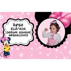 Minnie Mouse Temalı Pembe Kişiye Özel Duvar Panosu