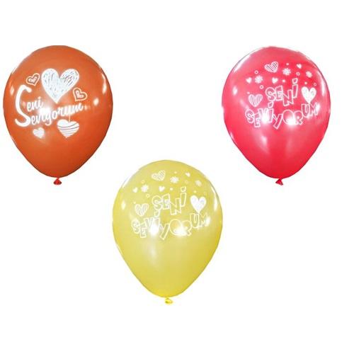 Seni Seviyorum Karışık Renklerde Balon
