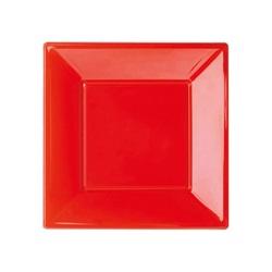 Kırmızı Kare Plastik Tabak Mini