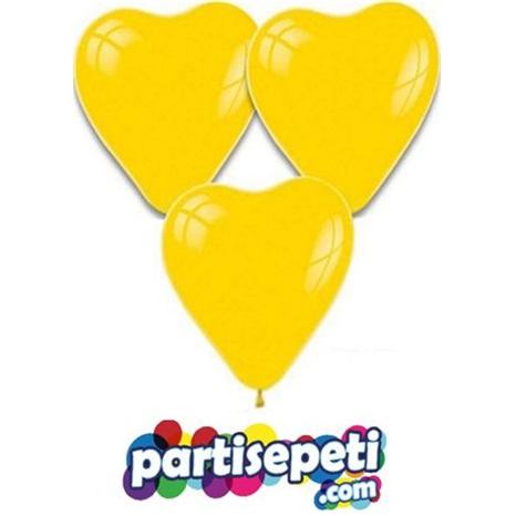 Sarı Kalp Latex Balon