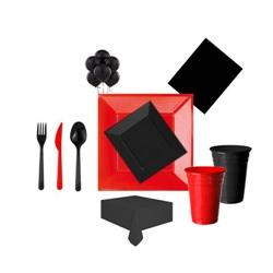 Kırmızı Siyah Parti Seti Lüx