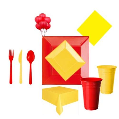 Sarı Kırmızı Parti Seti Lüx