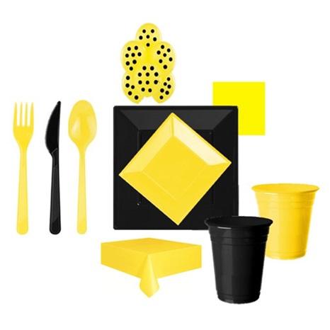 Sarı Siyah Parti Seti Lüx