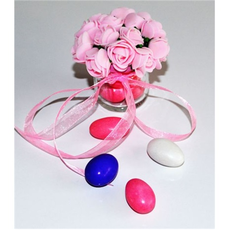 Kişiye Özel Pembe Çiçekli Cam Kavanoz