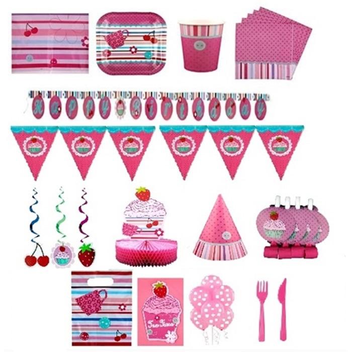 Çilek Kız Temalı Doğum Günü Parti Seti 8 Kişilik Lüx
