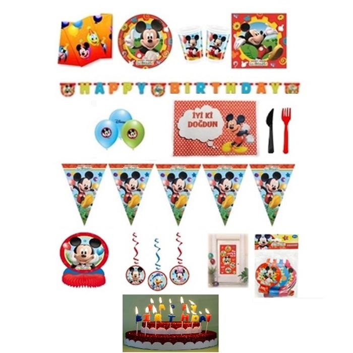 Mickey Mouse Temalı Doğum Günü Parti Seti 8 Kişilik Lüx