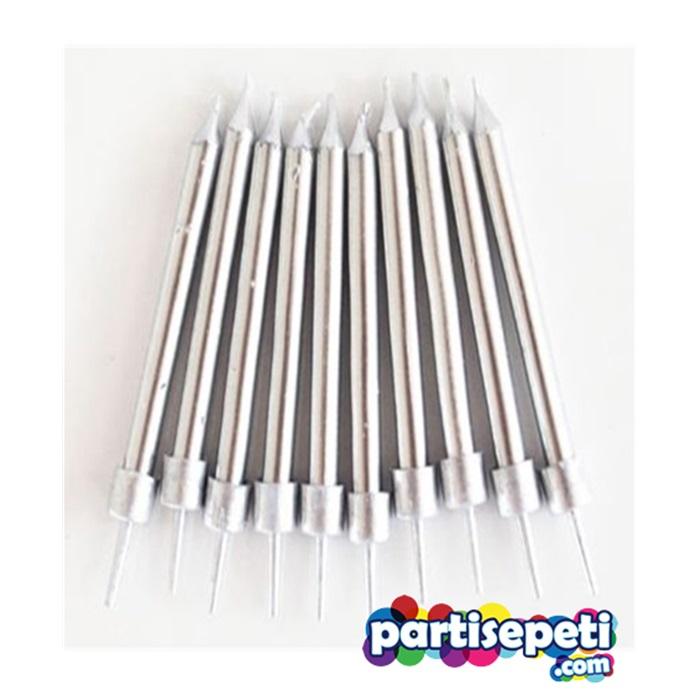 Uzun Gümüş Çubuk Mum
