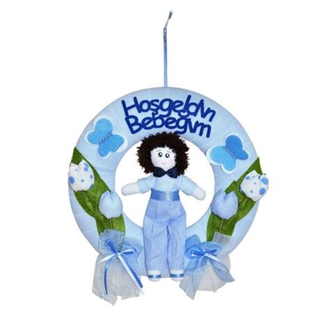 Hoşgeldin Bebeğim Kapı Süsü Mavi