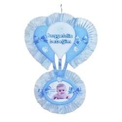 Bebek Resimli Kapı Süsü Mavi