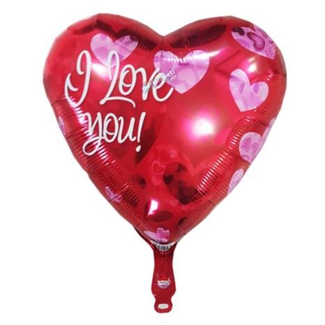 Kırmızı Kalp Desenli I Love You Folyo Balon