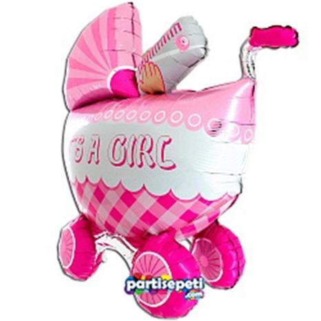 Bebek Arabalı It's A Girl Folyo Balon Pembe