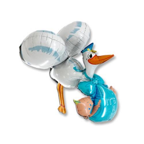 Leylek ve Bebek  Folyo Balon Mavi