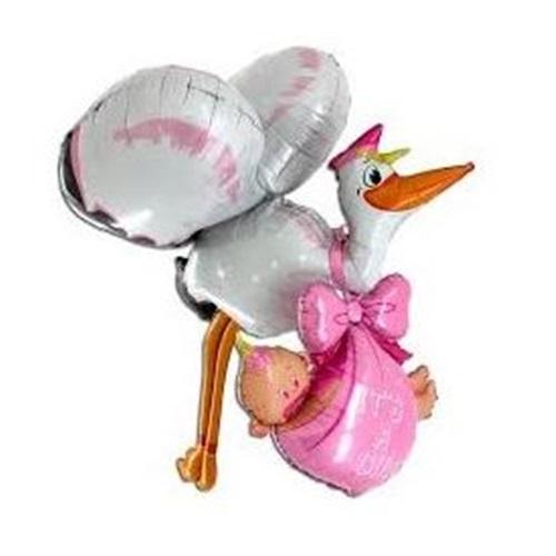 Leylek ve Bebek  Folyo Balon Pembe