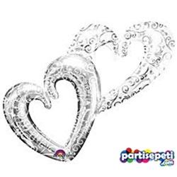 Gümüş Çift Kalp Folyo Balon