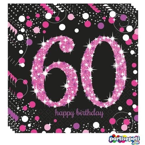 60 Yaş Temalı Pembe Peçete