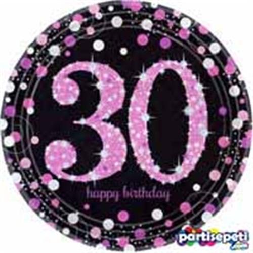 30 Yaş Temalı Pembe Tabak