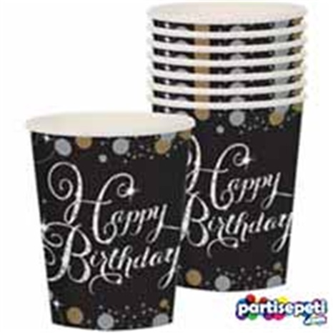 Siyah Happy Birthday Bardak
