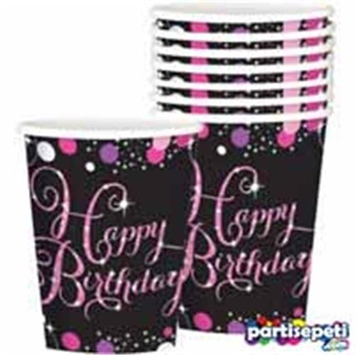 Pembe Happy Birthday Bardak