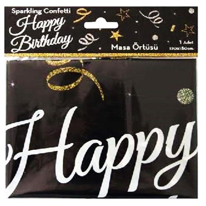Siyah Happy Birthday Masa Örtüsü