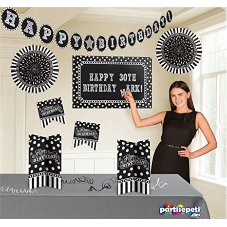 Siyah Beyaz Doğum Günü Oda Dekorasyon Seti