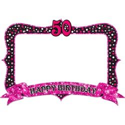 50 Yaş Temalı Pembe Hatıra Çerçevesi