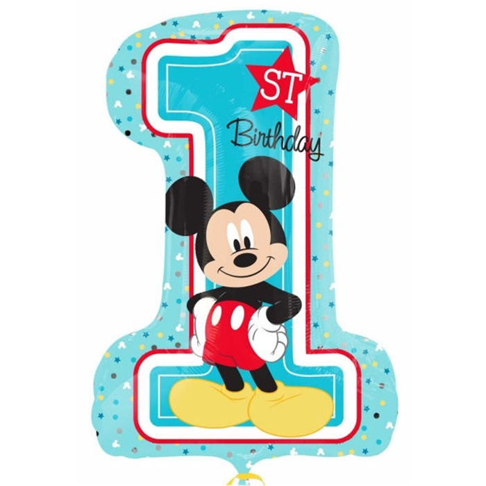 Mickey Mouse Temalı 1.Yaş Temalı Doğum Günü Super Shape Folyo Balon