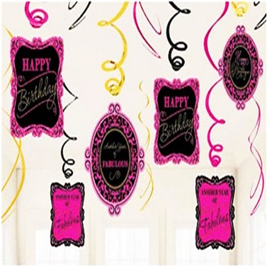 Pembe Happy Birthday Dekorasyon İp Süs