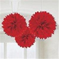 Lüks Ponpon Çiçek Kırmızı