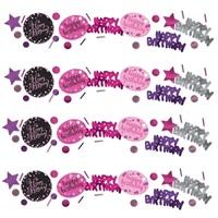 Pembe Renkli Happy Birthday Masa Konfetisi