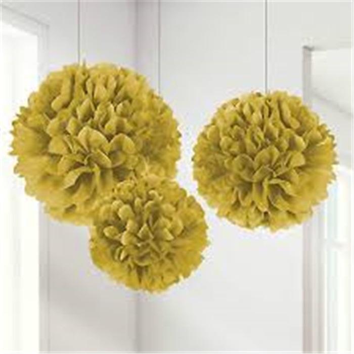Lüks Gold Ponpon Çiçek Süs